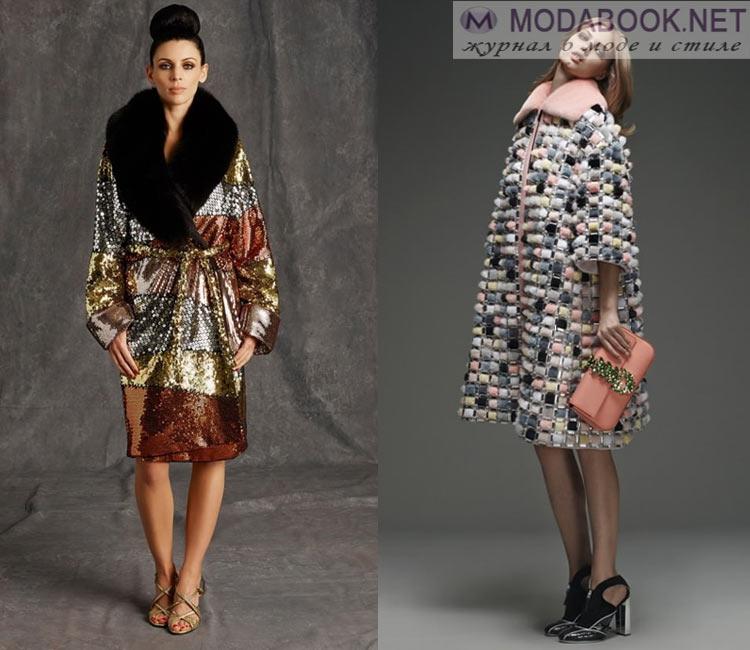 Модные женские пальто осень-зима 2016-2017:  с меховым декором