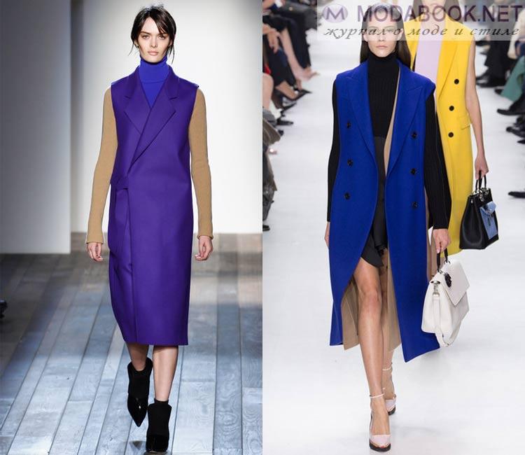 Модные женские пальто осень-зима 2016-2017:  безрукавка
