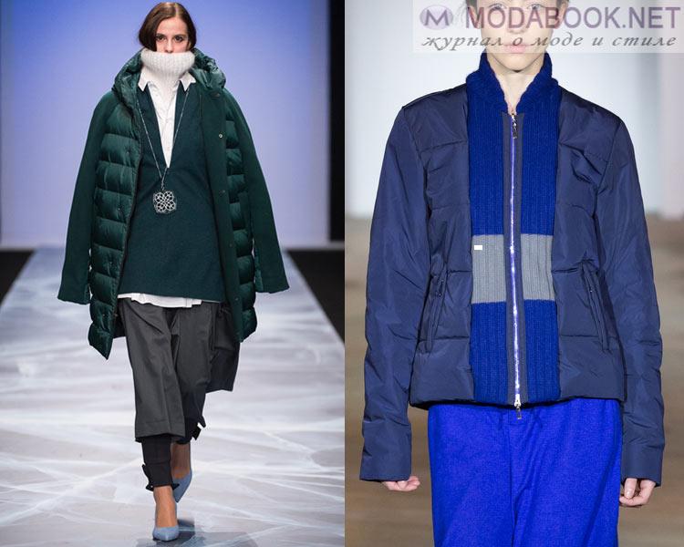 Модные женские пуховики осень - зима 2016 - 2017: комбинированные