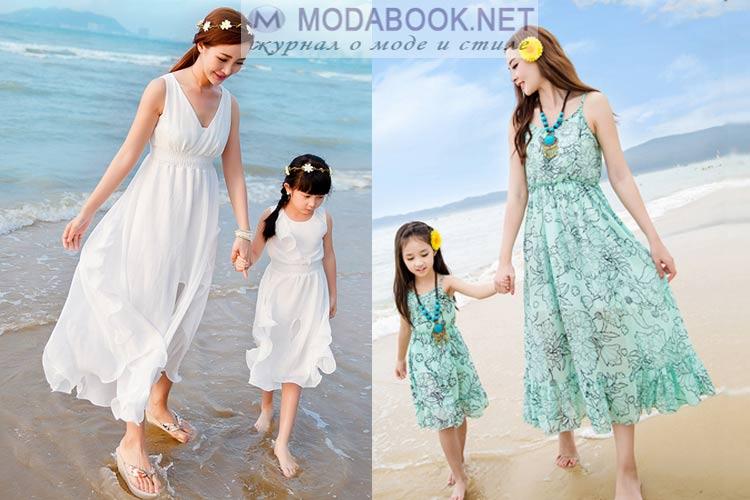 Одинаковые платья-сарафаны для мамы и дочки