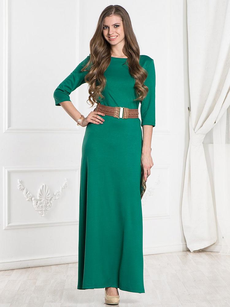 Платье в пол с рукавом три четверти