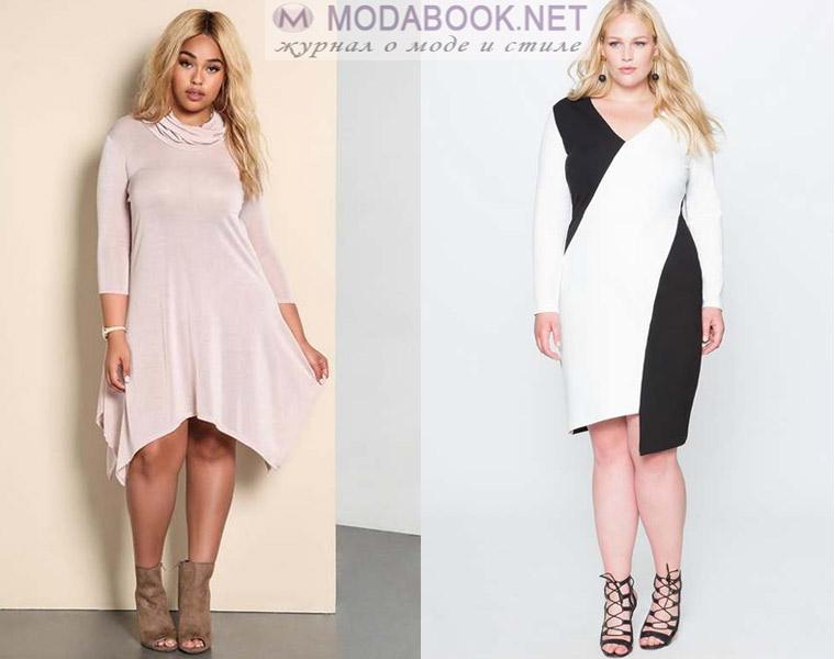 Модные платья для полных девушек: асимметричные модели