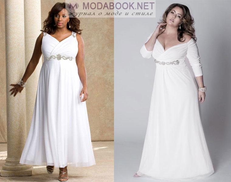 Греческое свадебное платье для полных