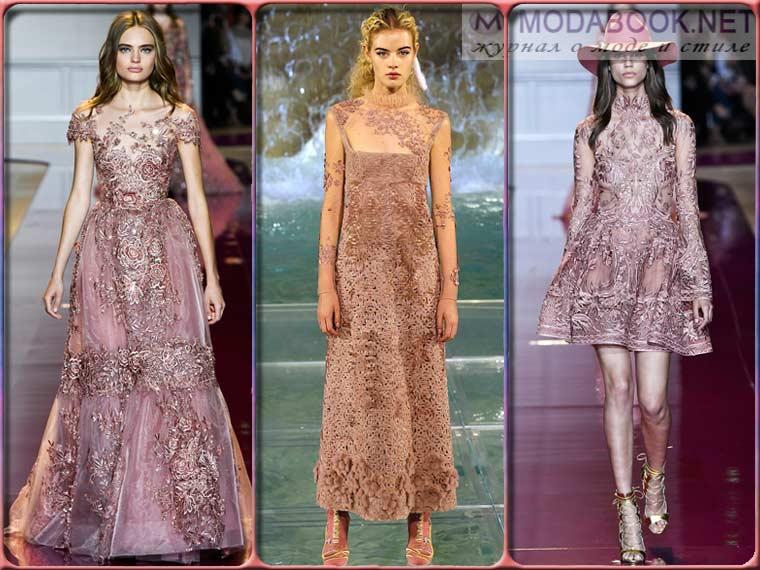 Модные платья на Новый год 2018 розового цвета