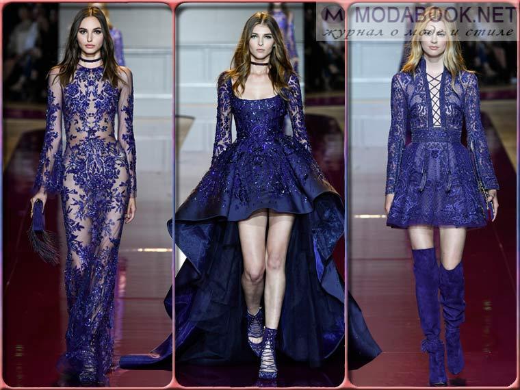 Модные платья на Новый год 2018 фиолетового цвета