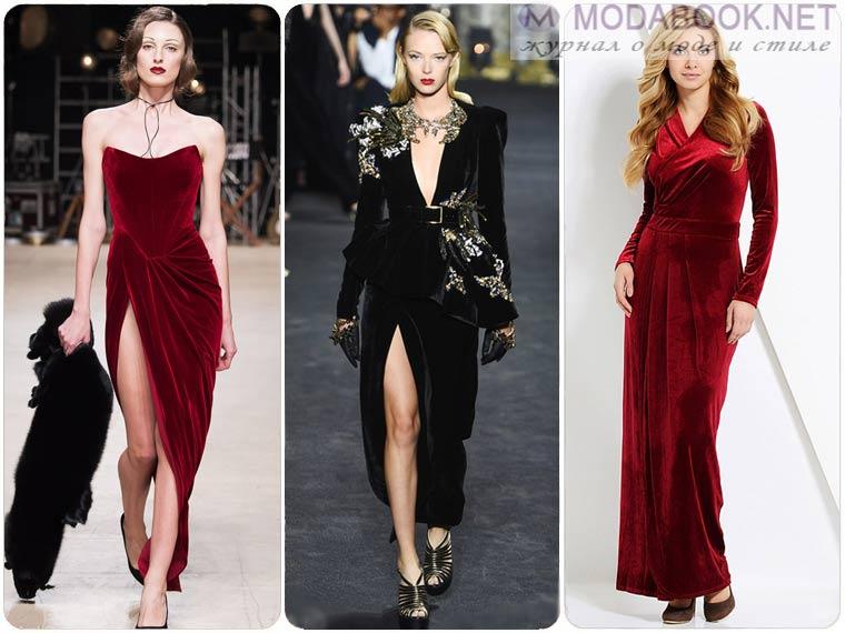 Бархатные платья на Новый год 2018