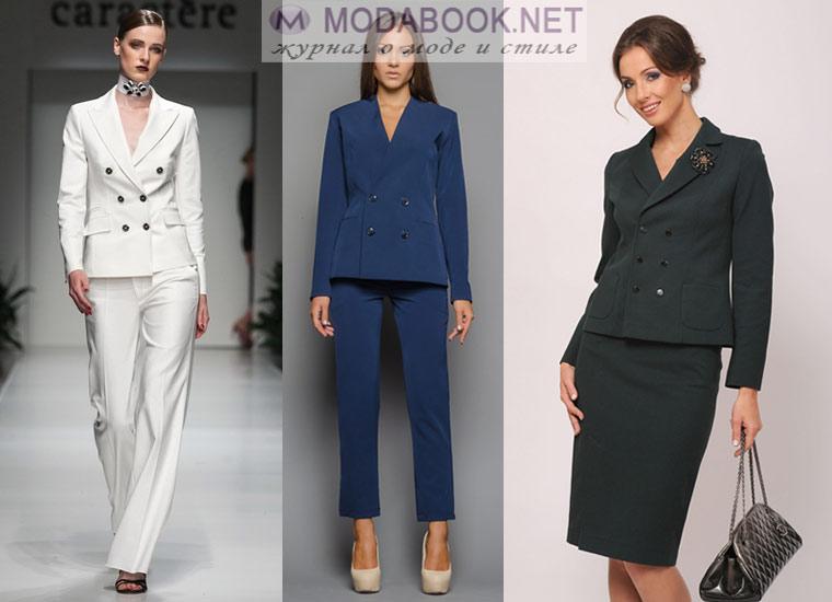 Классический женский пиджак: двубортный