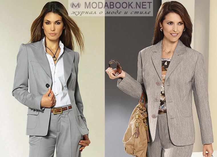 Женский пиджак в мужском стиле: серый
