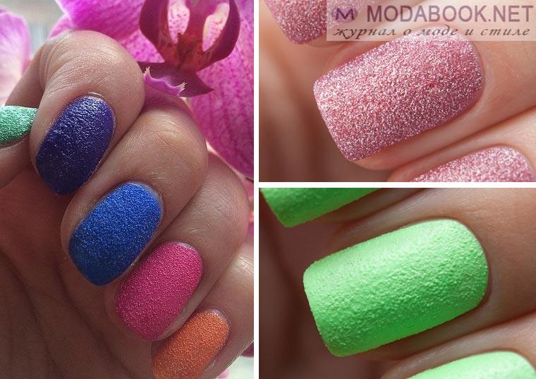 Дизайн ногтей с эффектом сахара