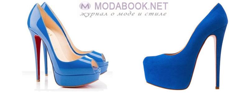Туфли лабутены синего цвета