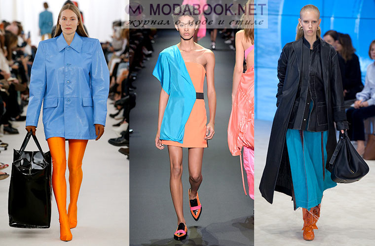 Мода весна-лето 2018: голубой с оранжевым
