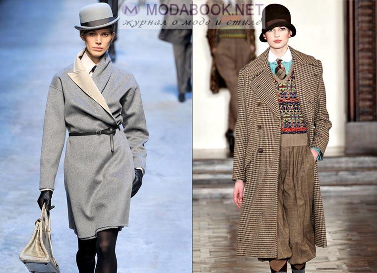 Женское пальто и мужской котелок