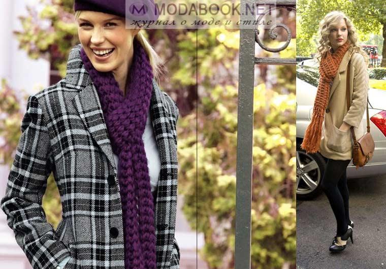 Как повязать шарф на пальто