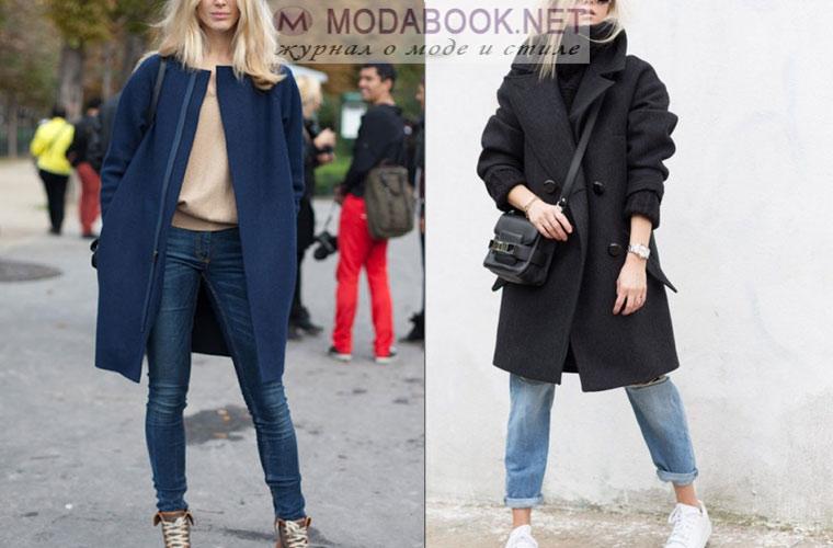 Как носить пальто с джинсами