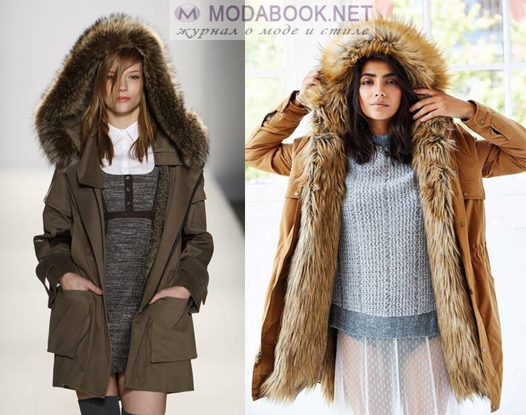 С чем носить женскую куртку-парку