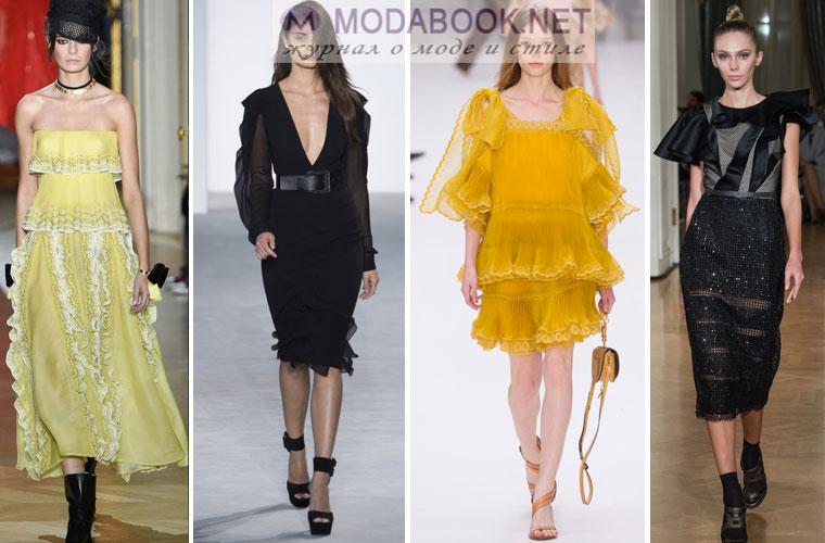 Модные платья с воланами и рюшами 2017