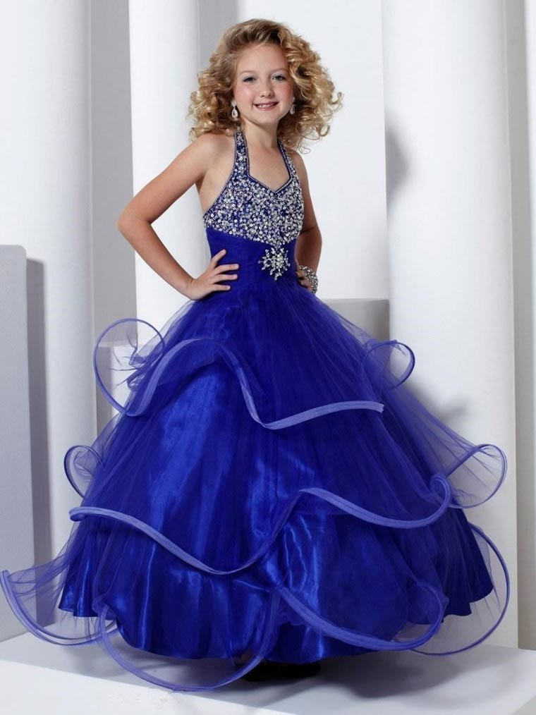 Выпускное платье синего цвета для девочки