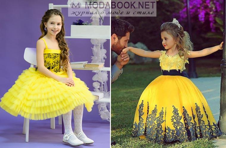 Желтое платье на выпускной в детскому саду 2017