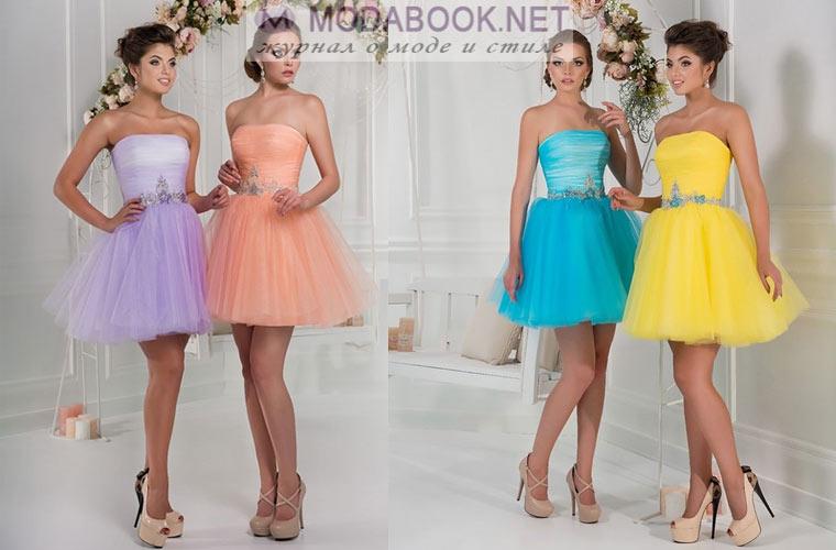 Цветовая гамма коротких выпускных платьев 2018