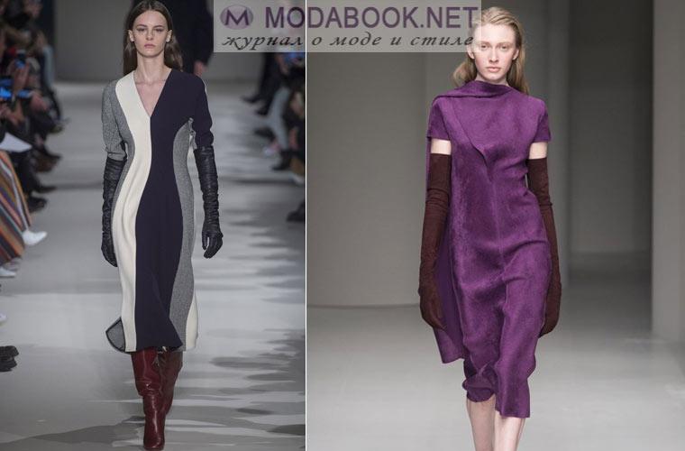 Модные платья зима 2017-2018:  с длинными перчатками