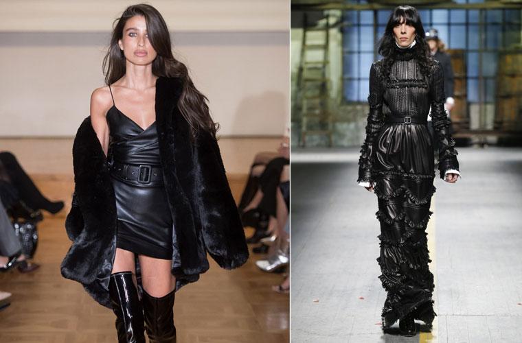 Модные платья зима 2017-2018: кожаные