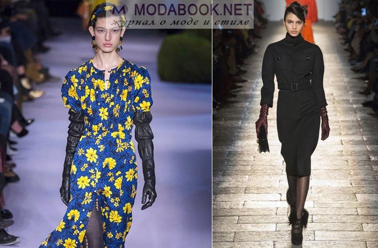 Модные платья зима 2017-2018:  с кожаными перчатками