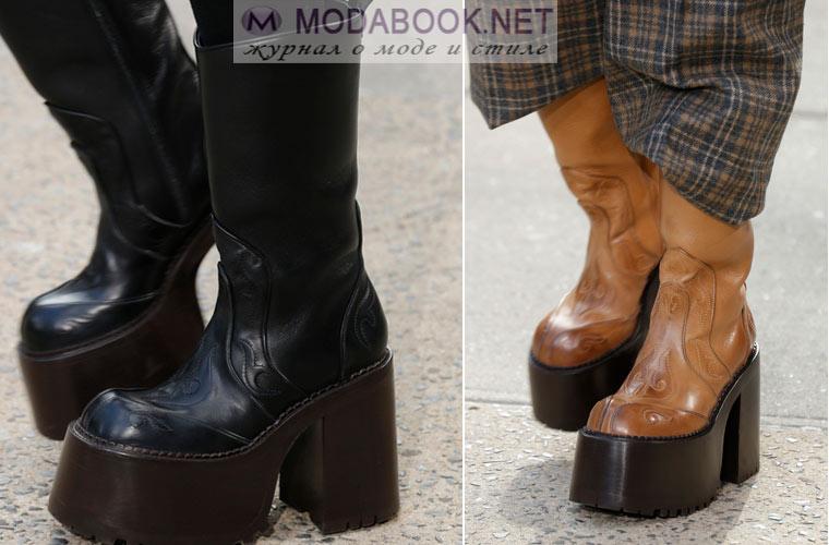 Модные сапоги на платформе и каблуке 2017-2018