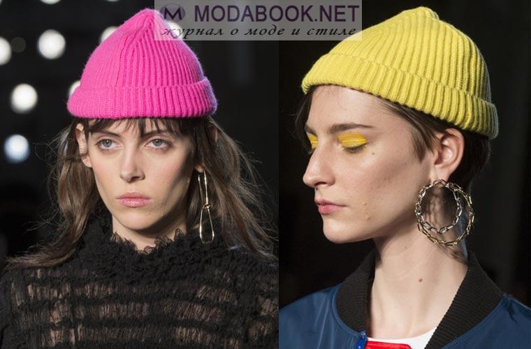 Вязаные шапки 2017-2018 с отворотом