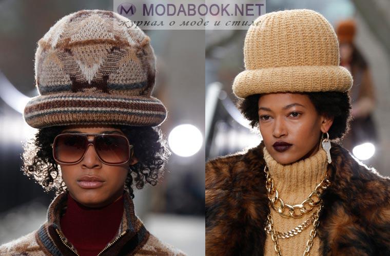Вязаные шапки-котелки зима 2018